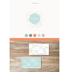 Modern Business card Design Template with flowers vector image