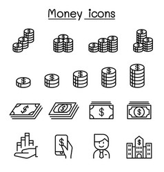 money currency cash coins bank notes icon set in vector image