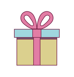 Present gift box with ribbon decoration design vector