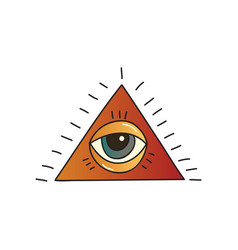 pyramid with seeing eye on white background vector image