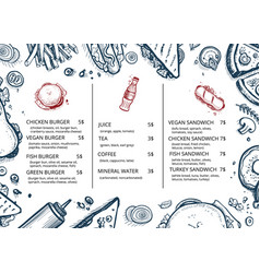 restaurant food menu retro hand drawn design vector image