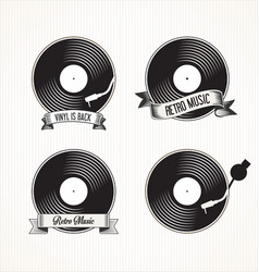 retro vinyl records badges vector image