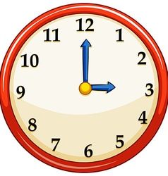 Round clock with red frame vector image
