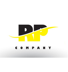 Rp r p black and yellow letter logo with swoosh vector
