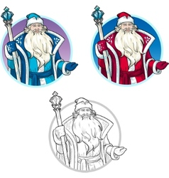 Russian Christmas Character Father Frost lineart vector