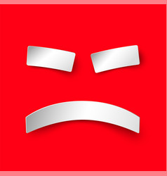 Sad smile in paper style on red background vector