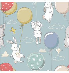 Seamless pattern with cute little hares vector