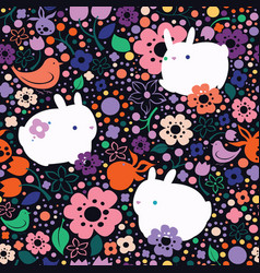 seamless pattern with flowers and rabbits vector image