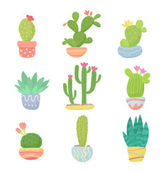 set of flat cartoon cute desert or home pot cactus vector image