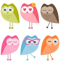 Set of owls and owlets isolated on white vector