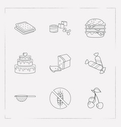 set of pastry icons line style symbols with loaf vector image