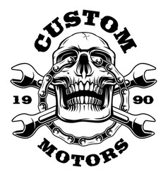 Skull with chain of motorcycle and wrenches vector