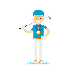 Smiling golfer winning gold medal vector