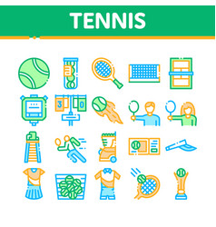 Tennis game equipment collection icons set vector