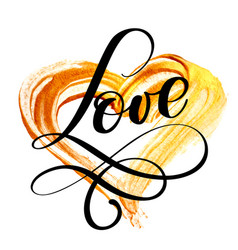 text love calligraphy flourish on a background of vector image