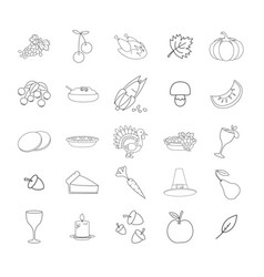 thanksgiving symbols line icons collection vector image