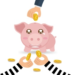 Thieves Hand Stealing Money Coin From Piggy Bank vector image