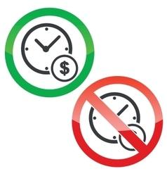 Time money permission signs set vector image