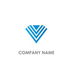 v initial line triangle company logo vector image