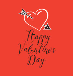 Valentine card with heart pierced by an arrow vector