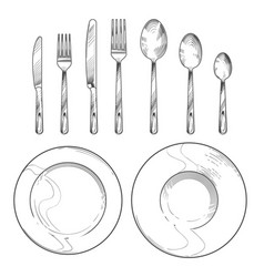 Vintage knife fork spoon and dishes in sketch vector