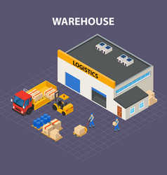 warehouse outside isometric design concept vector image