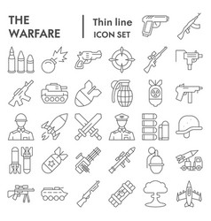 warfare thin line icon set war symbols collection vector image