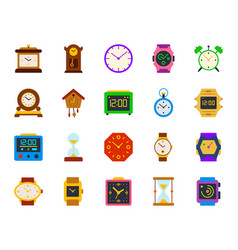 watch simple flat color icons set vector image