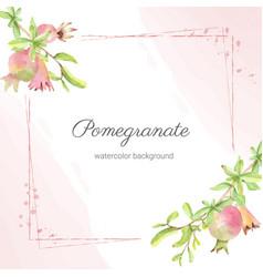 Watercolor pomegranate fruit branch square banner vector