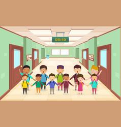 Welcome back to school group children vector