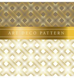 White and gold clover seamless pattern in ar deco vector