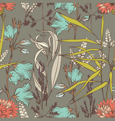 wildflowers hand drawing seamless pattern for the vector image
