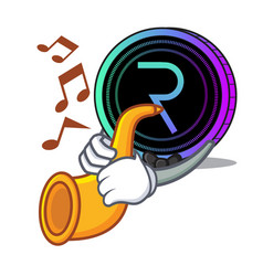 With trumpet request network coin mascot cartoon vector