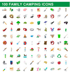 100 family camping icons set cartoon style vector image vector image