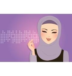 beautiful girl wearing scarf hijab veil smile vector image