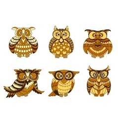 Cartoon owls with brown and orange plumage vector image vector image
