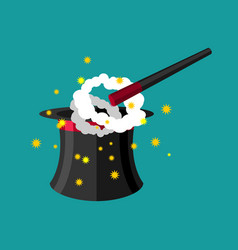 hat and magic wand magician accessory vector image vector image