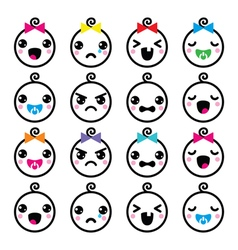 Kawaii baby boy and girl cute faces icons set vector image