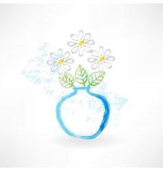 bouquet in a vase grunge icon vector image