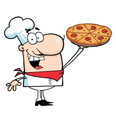 Chef Presenting His Pizza Pie vector image vector image