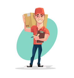 delivery man courier character hold box vector image vector image