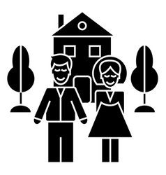 family with house icon sig vector image