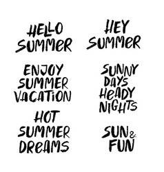 hand drawn set of summer lettering vector image vector image