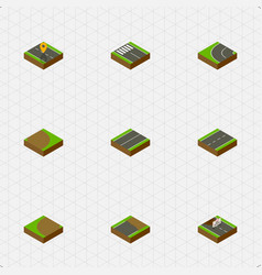 isometric way set of rotation plane turning and vector image