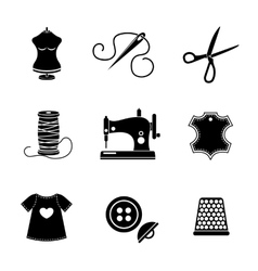 Set of sewing icons - machine scissors thread vector image vector image