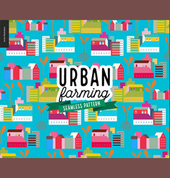 urban farming and gardening - houses and sprouts vector image