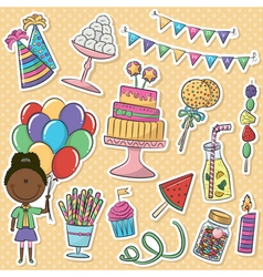 birthday party icons stickers vector image