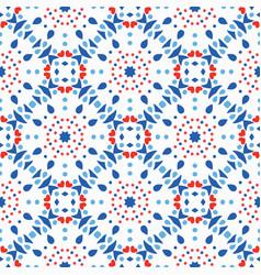 blue red pattern flower tile background vector image vector image