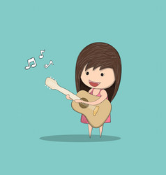 kid playing guitar against drawing by hand vector image