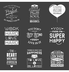 Set of vintage love typographic quotes vector image vector image